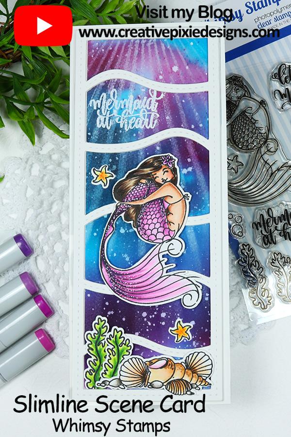 Whimsy Stamps Let's Be Mermaids and Slimline Waves Die