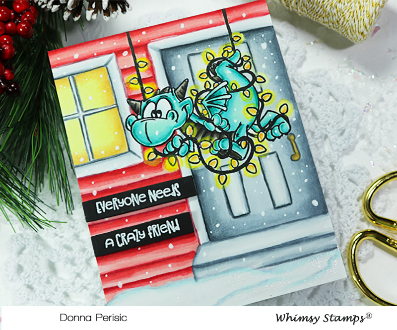 Whimsy Stamps Dragon Christmas Cheer