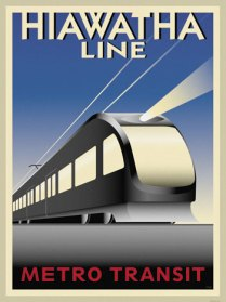 Commemorative poster for the Blue Line, originally called the Hiawatha Line