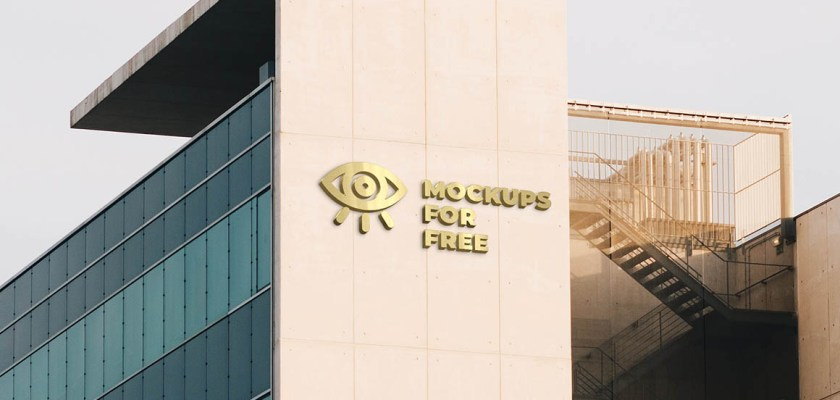 Free PSD Logo on The Building Mockup