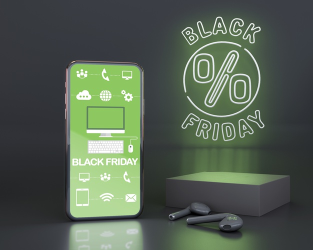 Black friday background with green neon lights Free Psd