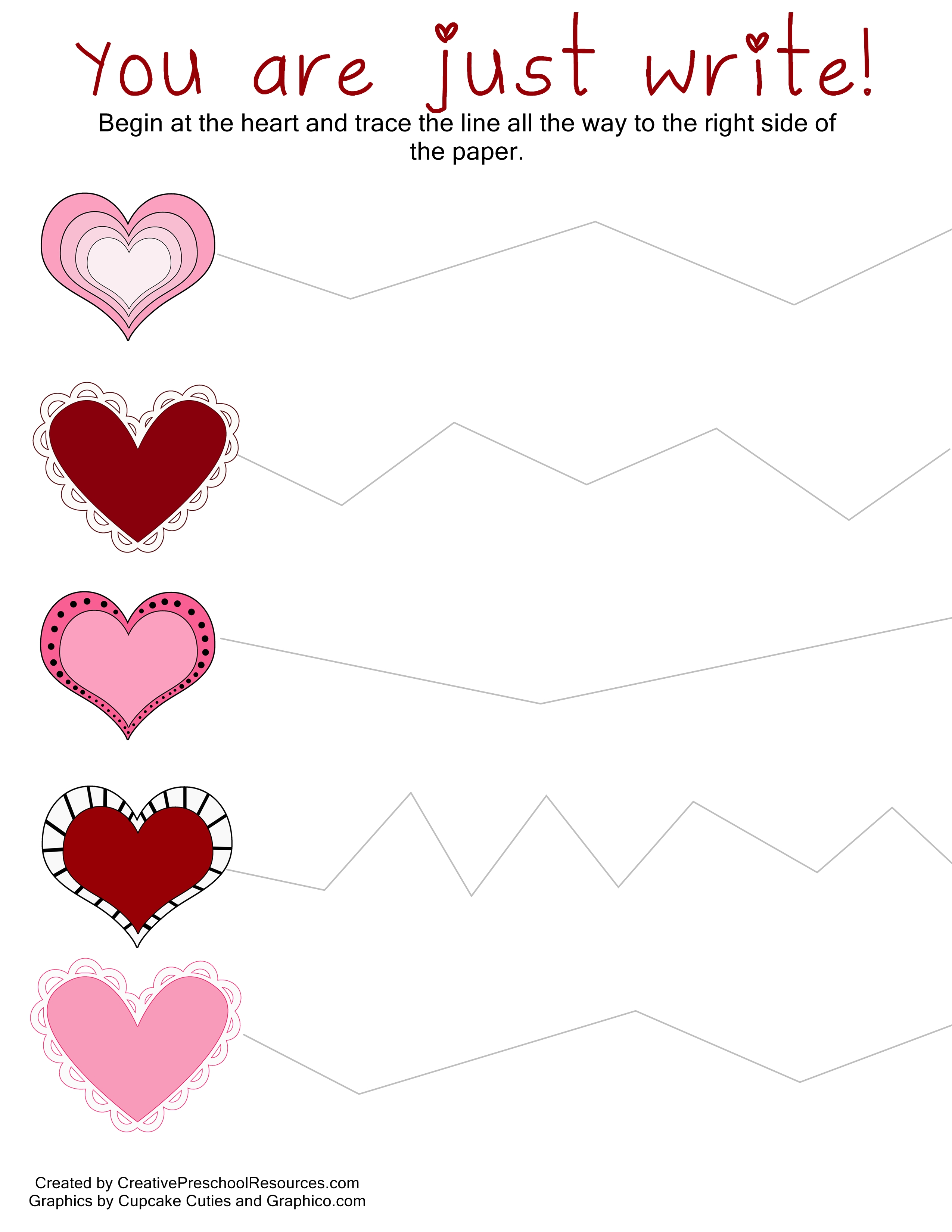 Creative Preschool Resources Valentine Trace Amp Cut Printables