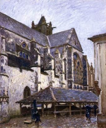 sisley, La vecchia chiesa di Moret sotto la pioggia, visto dal transetto, 1894, Birmingham Museum and Art Gallery, Birmingham