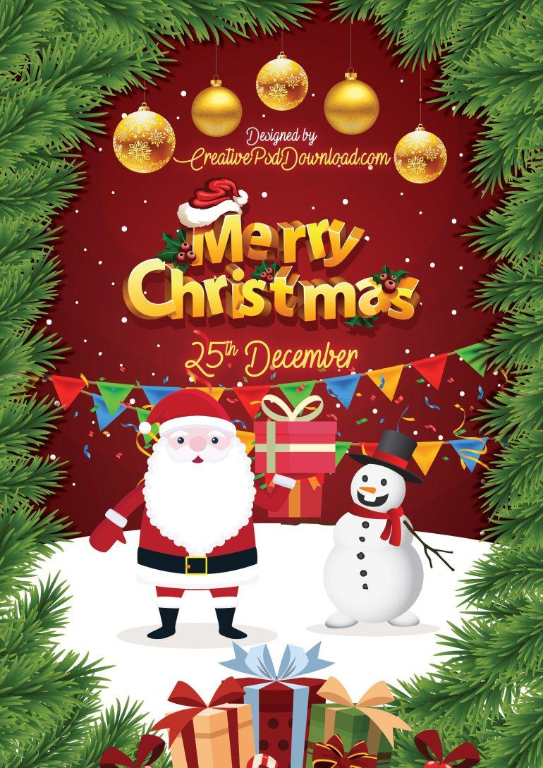 Merry Christmas Greeting Flyer PSD