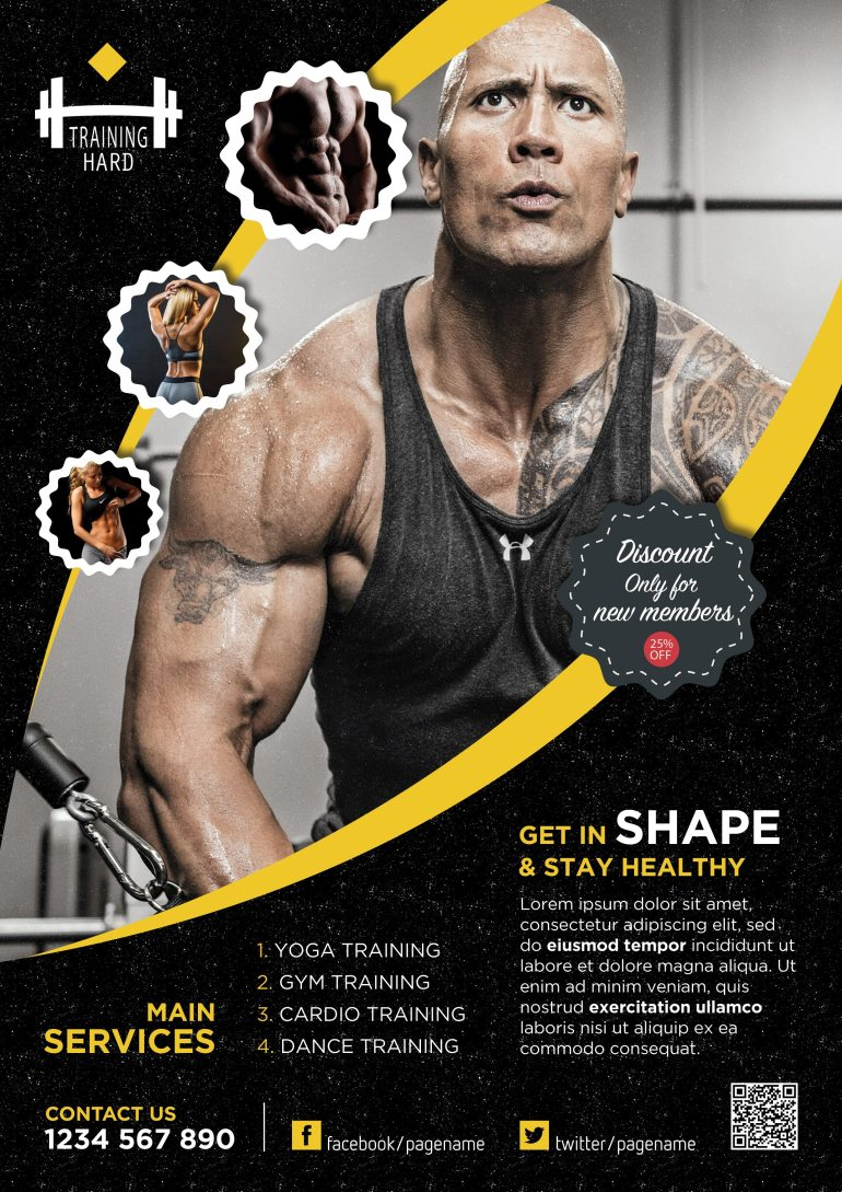 Professional Fitness Flyer Free PSD Yellow