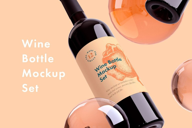 Set of Wine Bottle Mockups