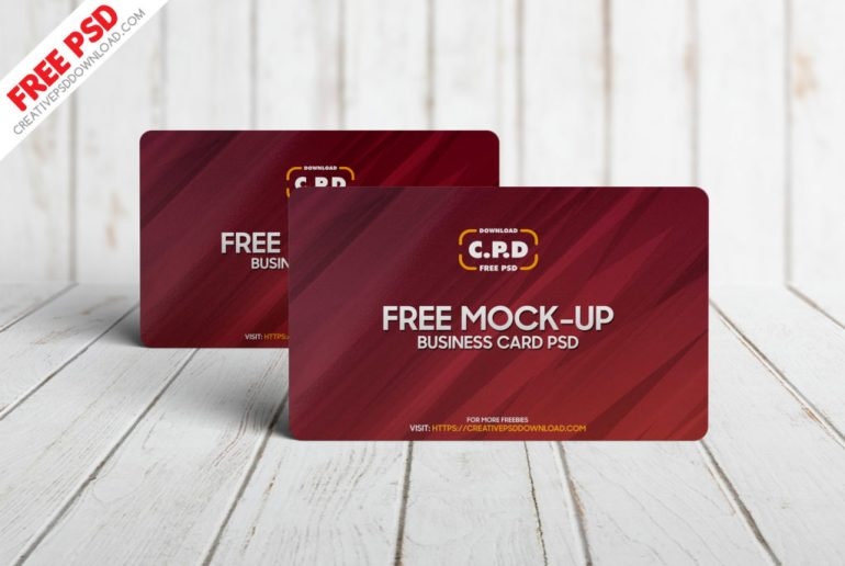 Standing Business Card Mockup Free PSD [2 View]