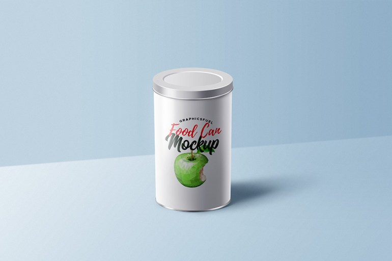 Food Can with Lid Mockup