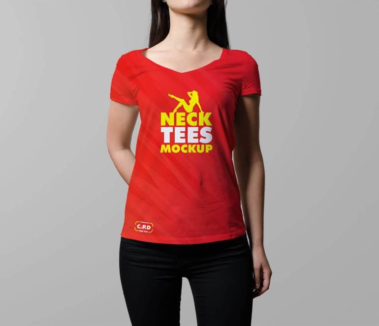 Front tshirt mockup, front side t shirt mockup, V-Neck Female T-Shirt Mockup Free Psd