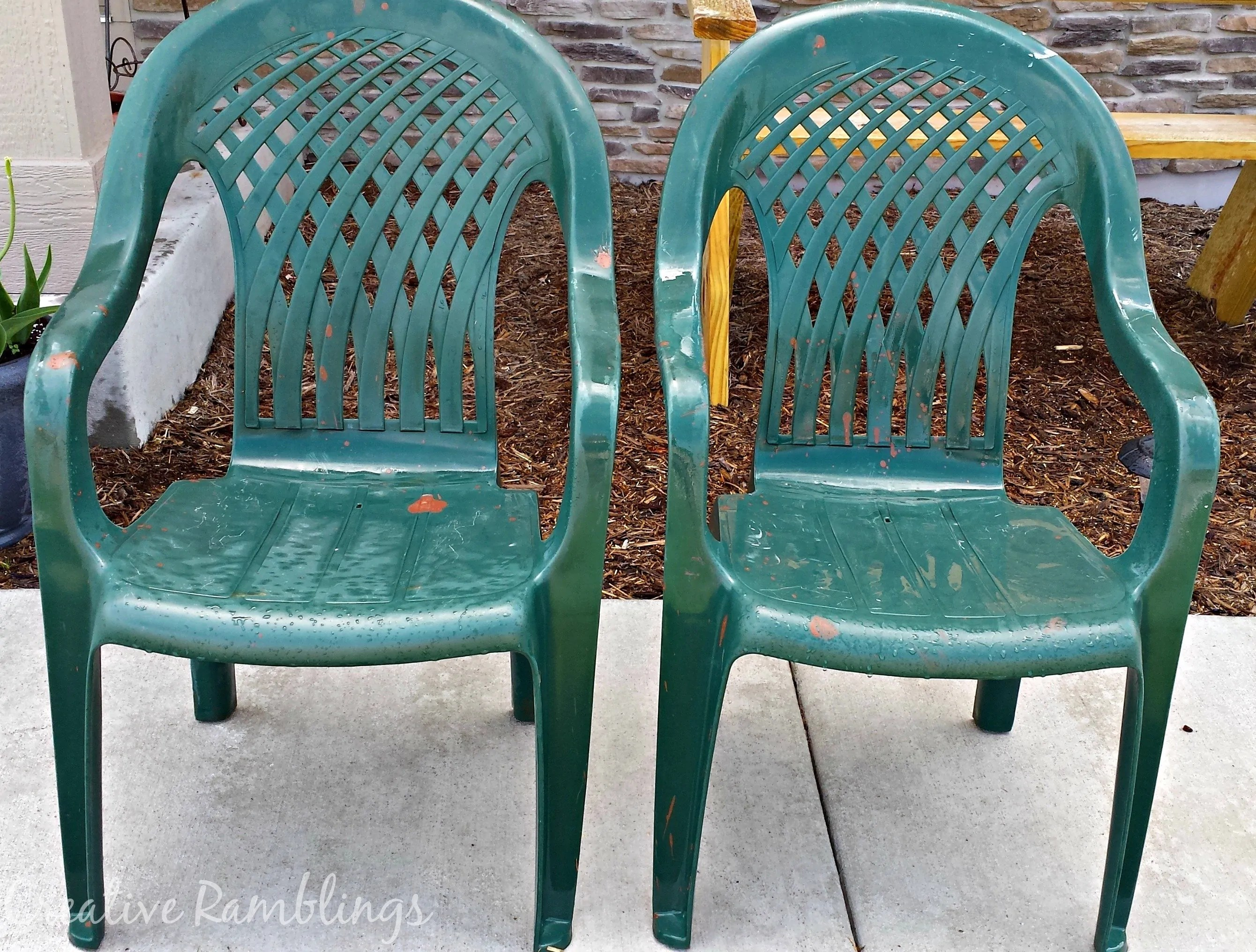 Plastic Outdoor Chairs Deck Makeover Painted Plastic Chairs Creative Ramblings