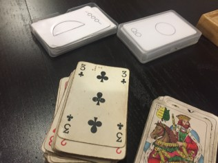 Cards with code and relief.