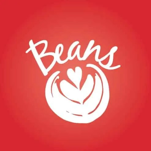 Beans Logo on red brackground
