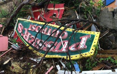 Vintage Pusser's restaurant sign after Irma