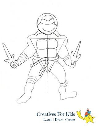 How to draw Ninja Turtle?-step-by-step-tutorial