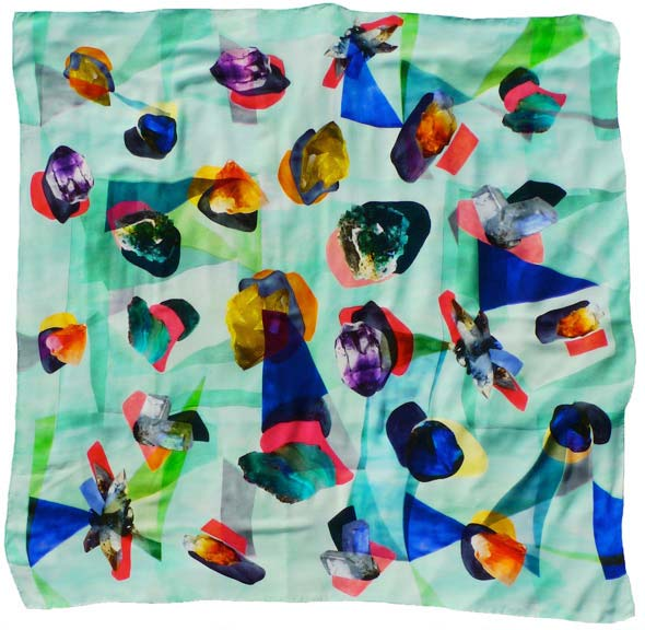 Image of colorfully printed scarf by Charlotte Linton