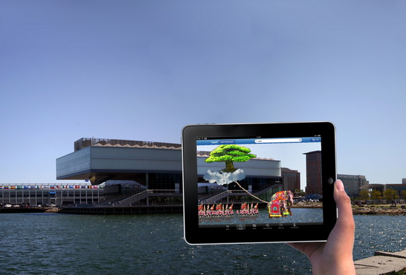 Image of iPad showing virutal art at Institute of Contemporary Art