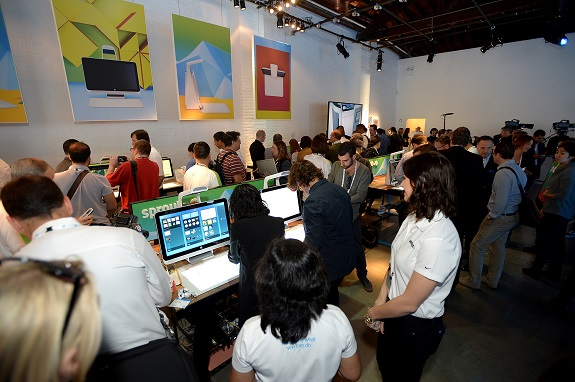 Guests interact with innovative technology introduced at the Sprout by HP and HP Multi Jet Fusion Launch event. (Photo by Ivan Agostini/Invision for HP/AP Images)