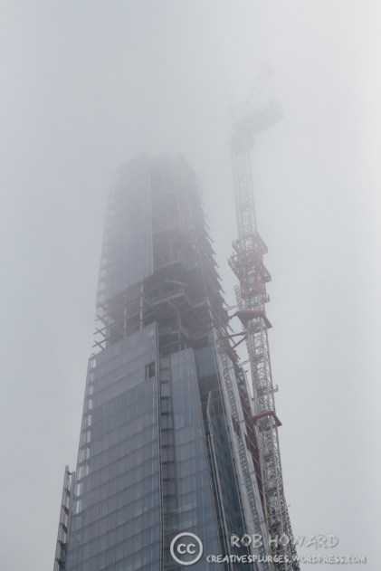 A low cloud on the day obscured the (admittedly unfinished) top of the Shard. | 1/100sec, f/1.8, ISO 500, 50mm