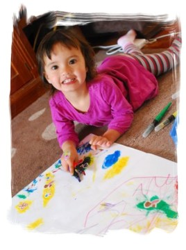 M, aged 2, making art at home