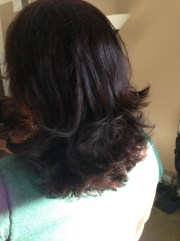 step cut hairstyle medium curly