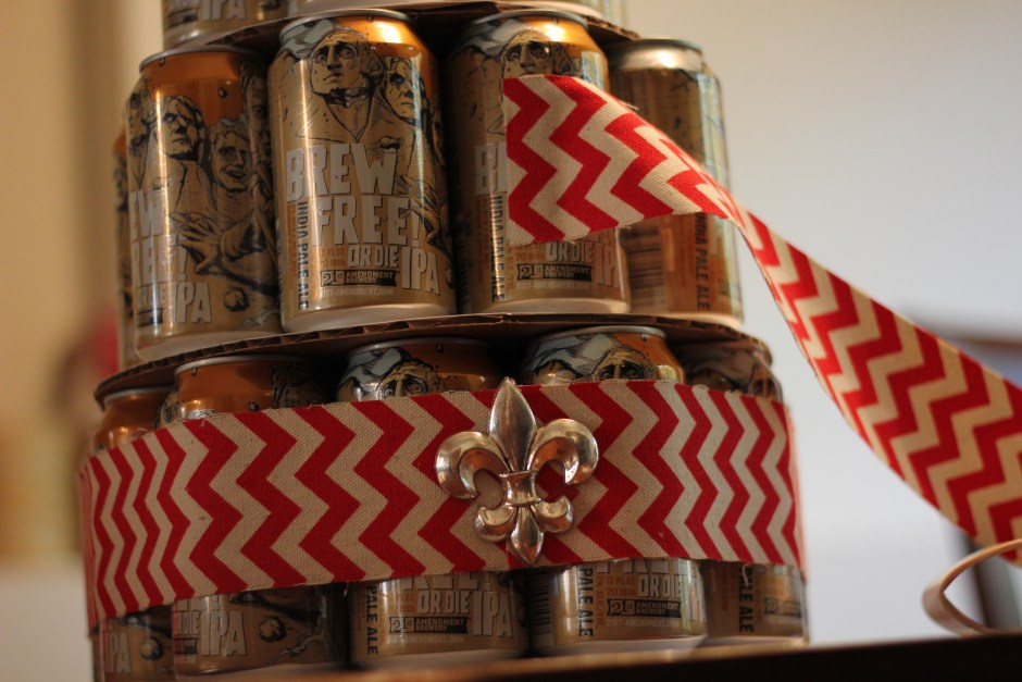 Attach the ribbon with 2 Zots on the edge of the ribbon to one can.