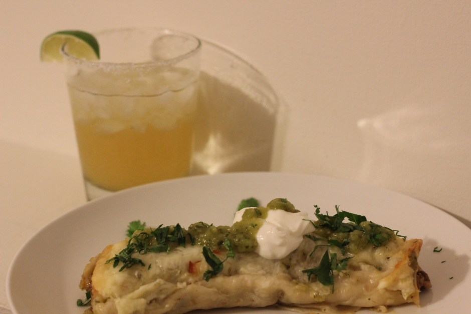 Bison enchilada with salsa verde and a margarita