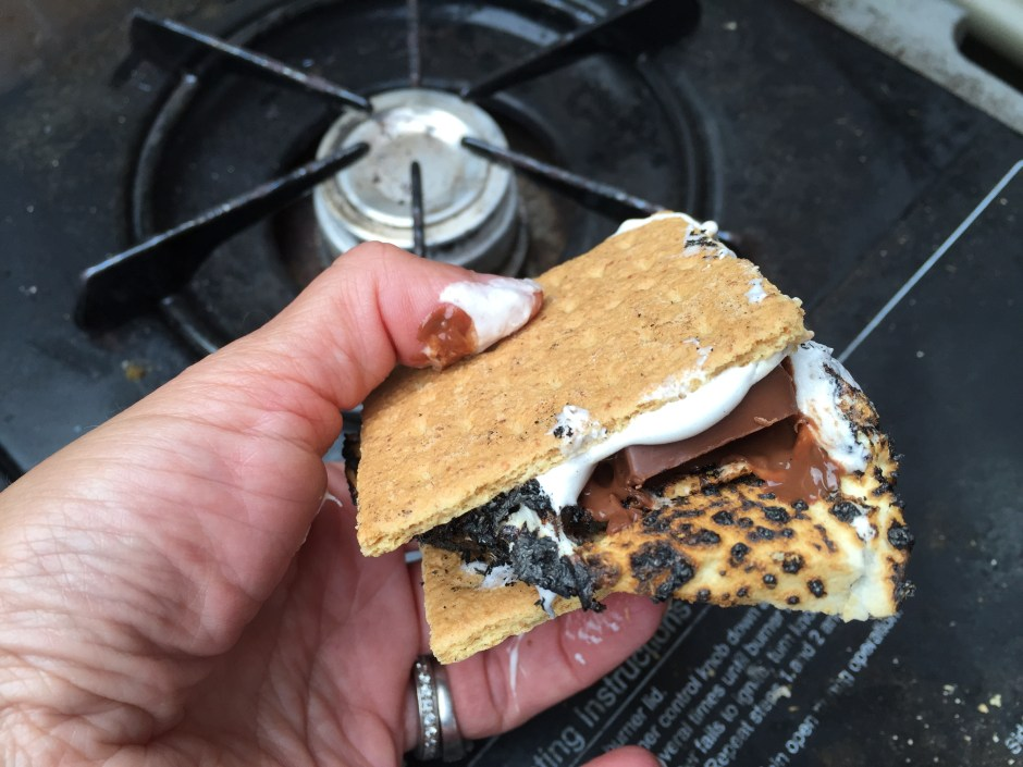 S'mores over the grill side burner