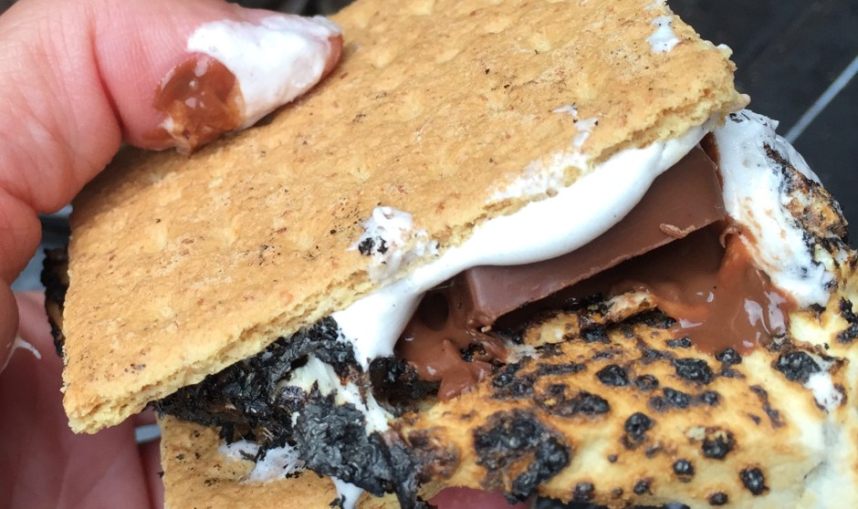 "Super gooey s'more with the ""Jumbo"" marshmallow"