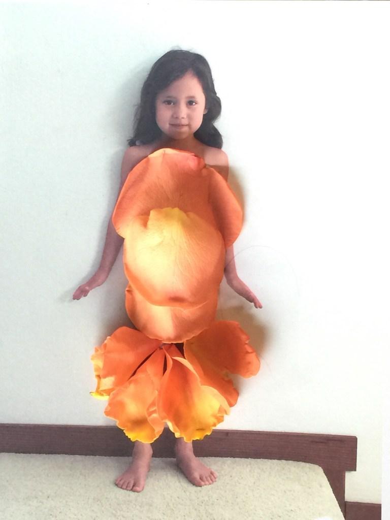 Petal dress with orange rose petals