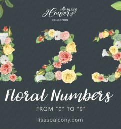 free floral numbers clipart [ 1200 x 800 Pixel ]