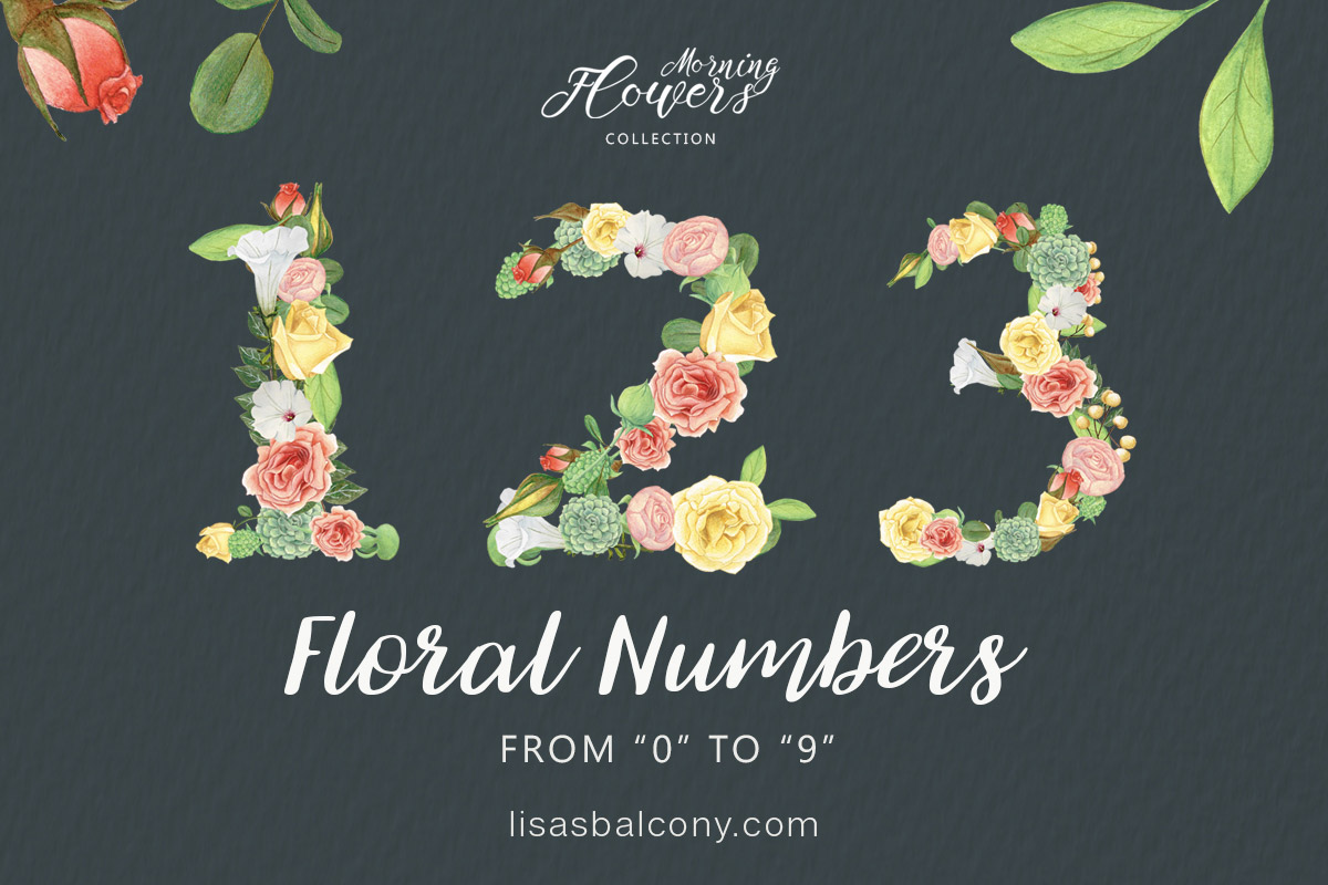 hight resolution of free floral numbers clipart