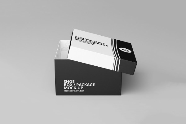 Free Square Shoe Box Package Mockup - Creativetacos