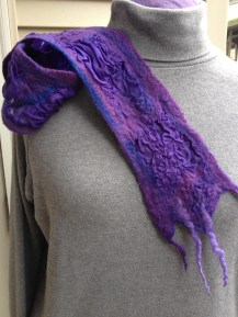 Gypsy girl scarf~purple nuno felt
