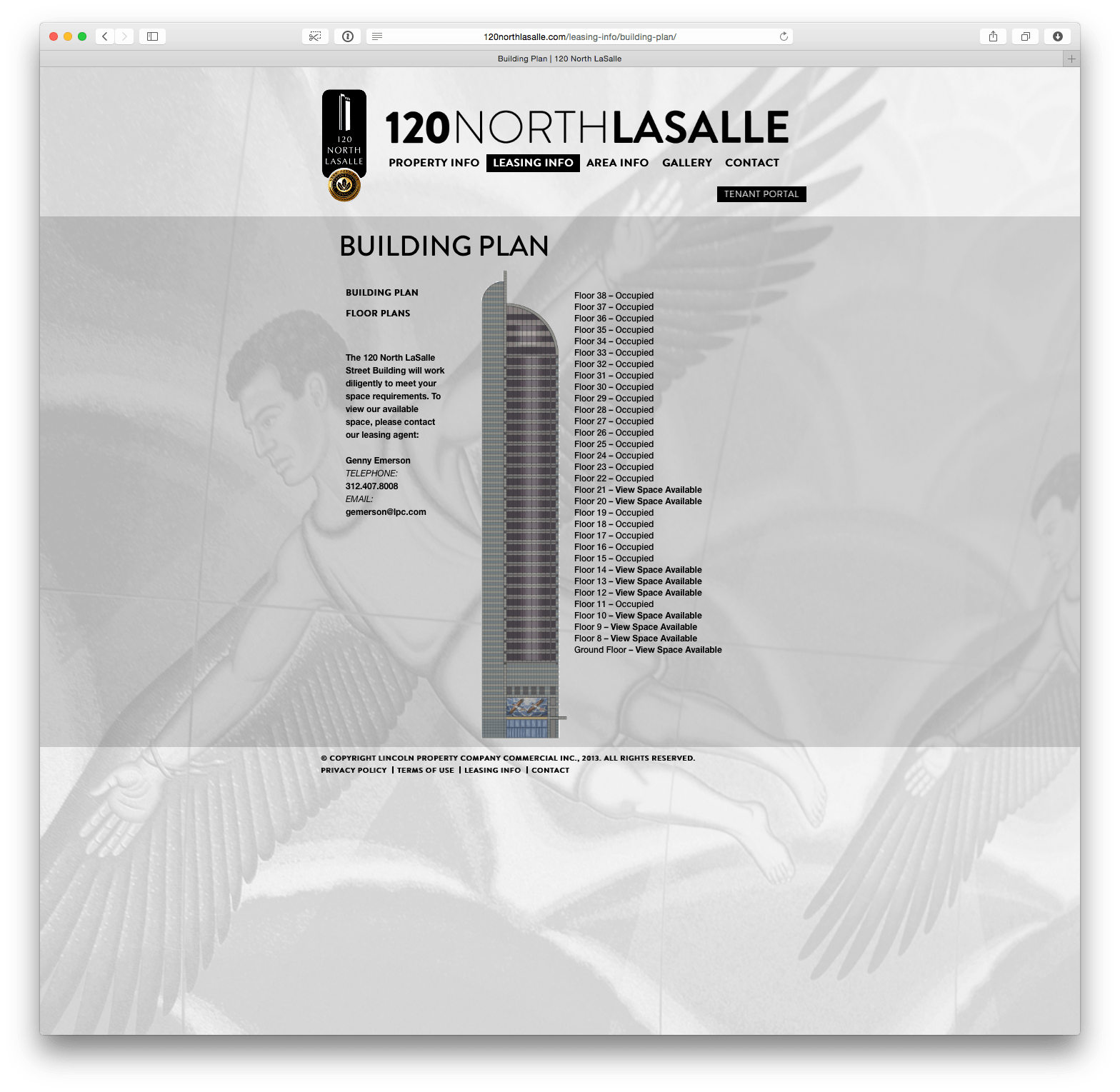 120NorthLasalle.com Building Plan Page