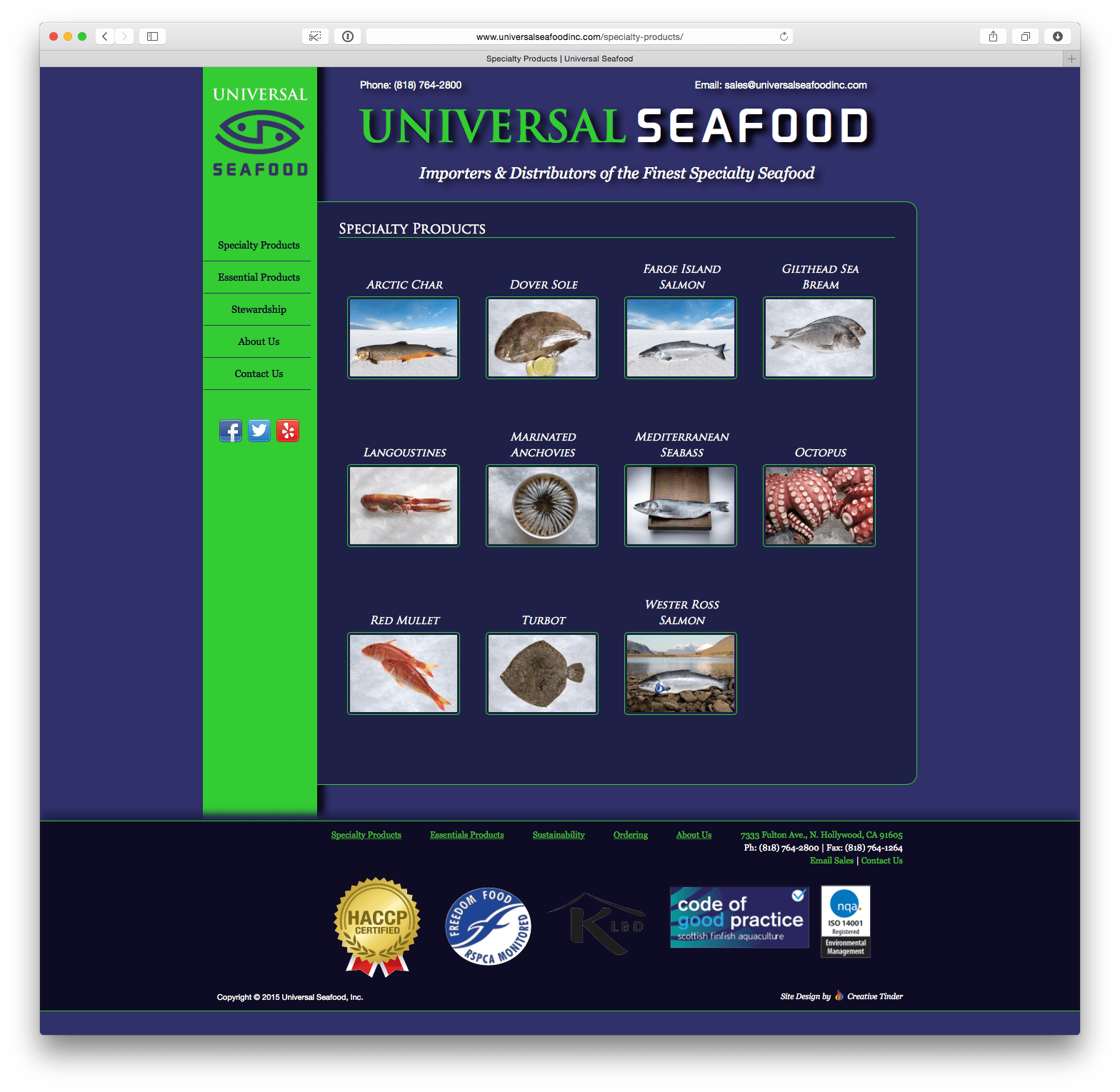 UniversalSeafoodInc.com Specialty Products Page