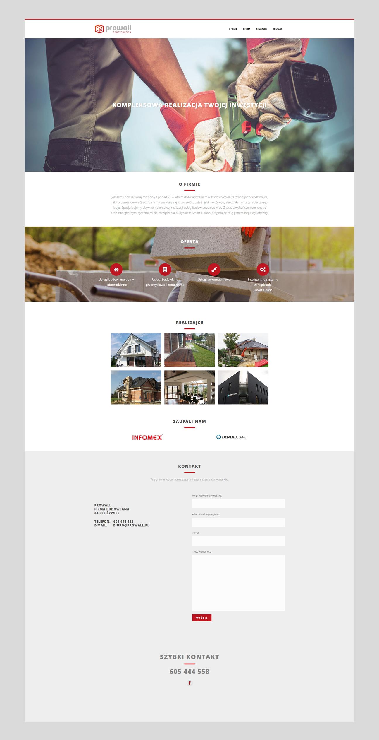 Projekt strony internetowej dla firmy Prowal Construction.