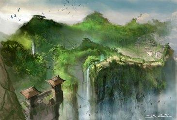 anime village mountain landscape fantasy sword heavenly wallpapers 4k temple background hd backgrounds characters sky desktop abyss misc01 creativeuncut hs