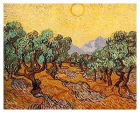'Olive Trees with Yellow Sky and Sun' by Vincent Van Gogh in 1890