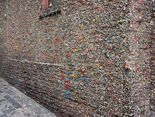 Gum stuck to wall