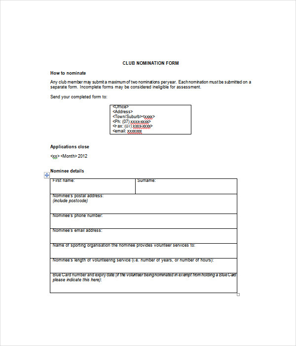 Free Download Nomination Form template