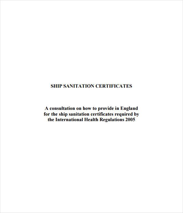 Ship Sanitation Certificate Template