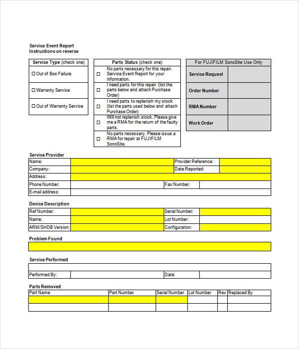 Service Event Report Template
