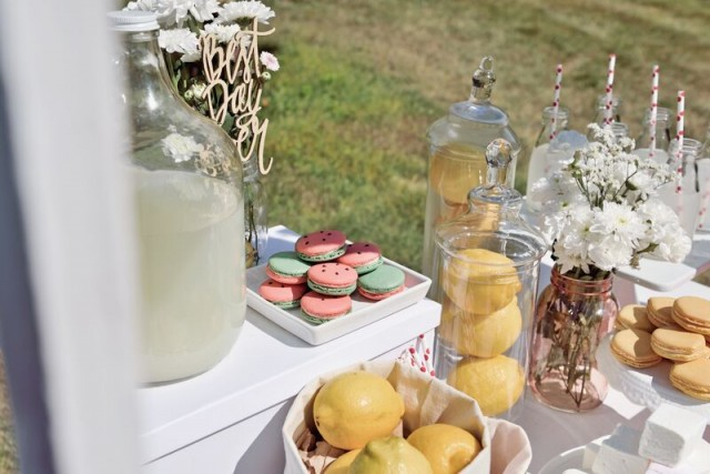 watermelon macarons at a lemonade stand kewe clothing