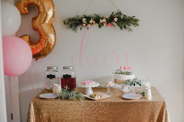 cheers wall decal by Urban Walls, party styling by Heather and Gem | Creative WIfe & Joyful Worker
