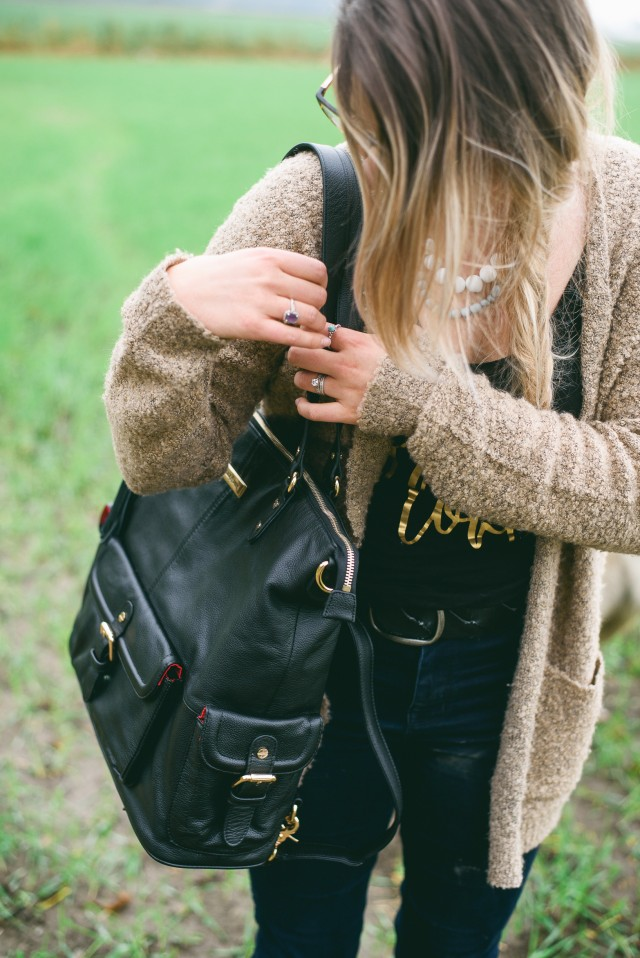 Casual fall style with premium leather diaper bag | E Fraser Photography