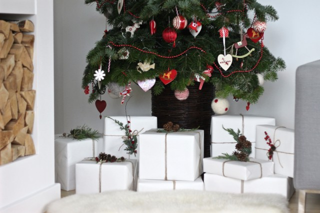 modern gift wrapping underneath the Christmas Tree