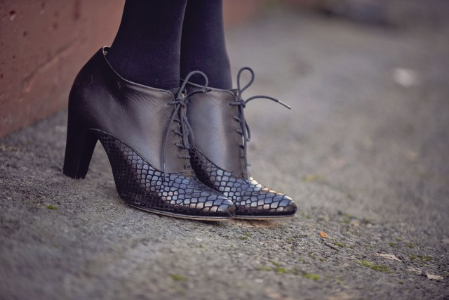 Details of the lace up cobra bootie by Poppy Barley