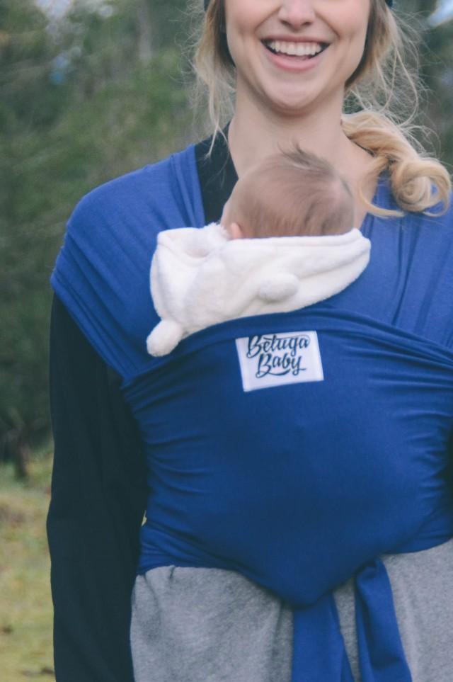 baby wearing handmade Beluga Baby wrap