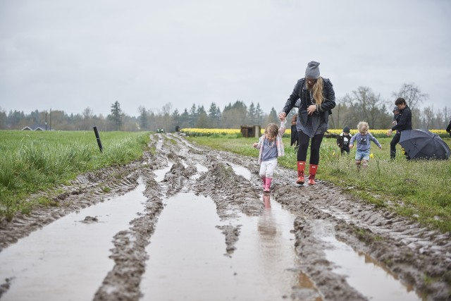 Playing in the mud on the family farm