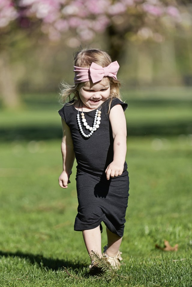 Young Girl in Black maxi dress by Mosies Cozies